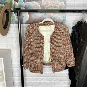 J Crew Factory // Coral Frayed Tweed Blazer Jacket